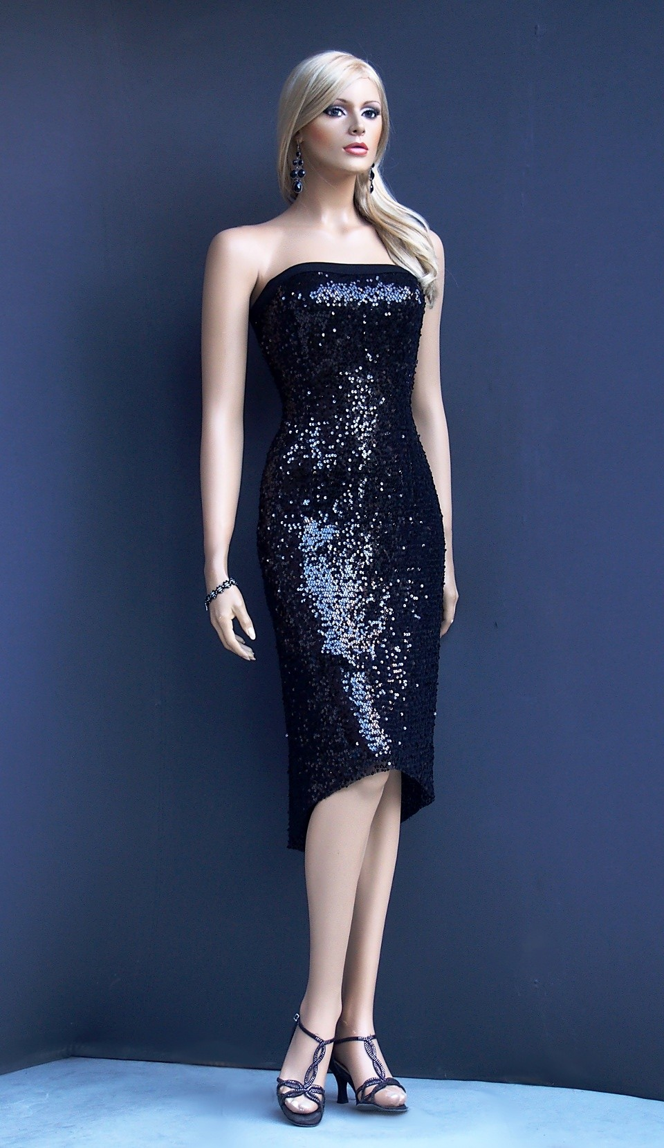 ta 019 Black sequins  tango dress