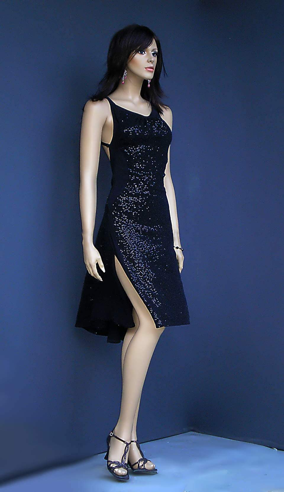 ta 113 black sequins tango dress