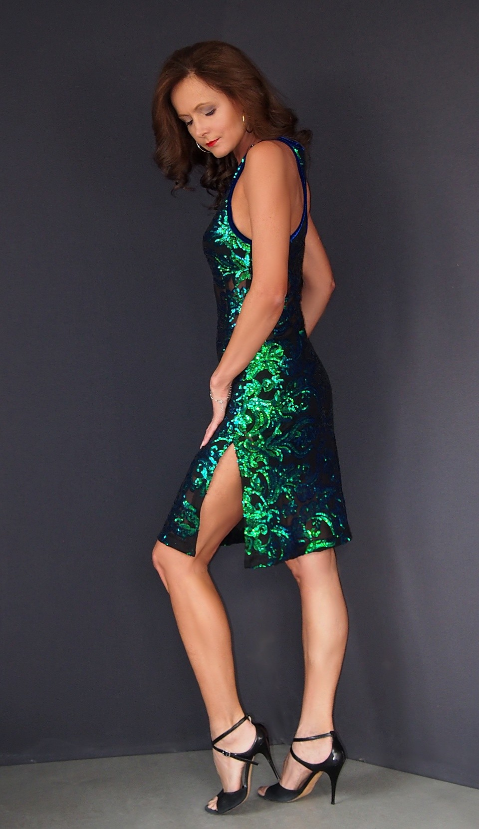 ta.065 elastic lace with  sequins  tango dress